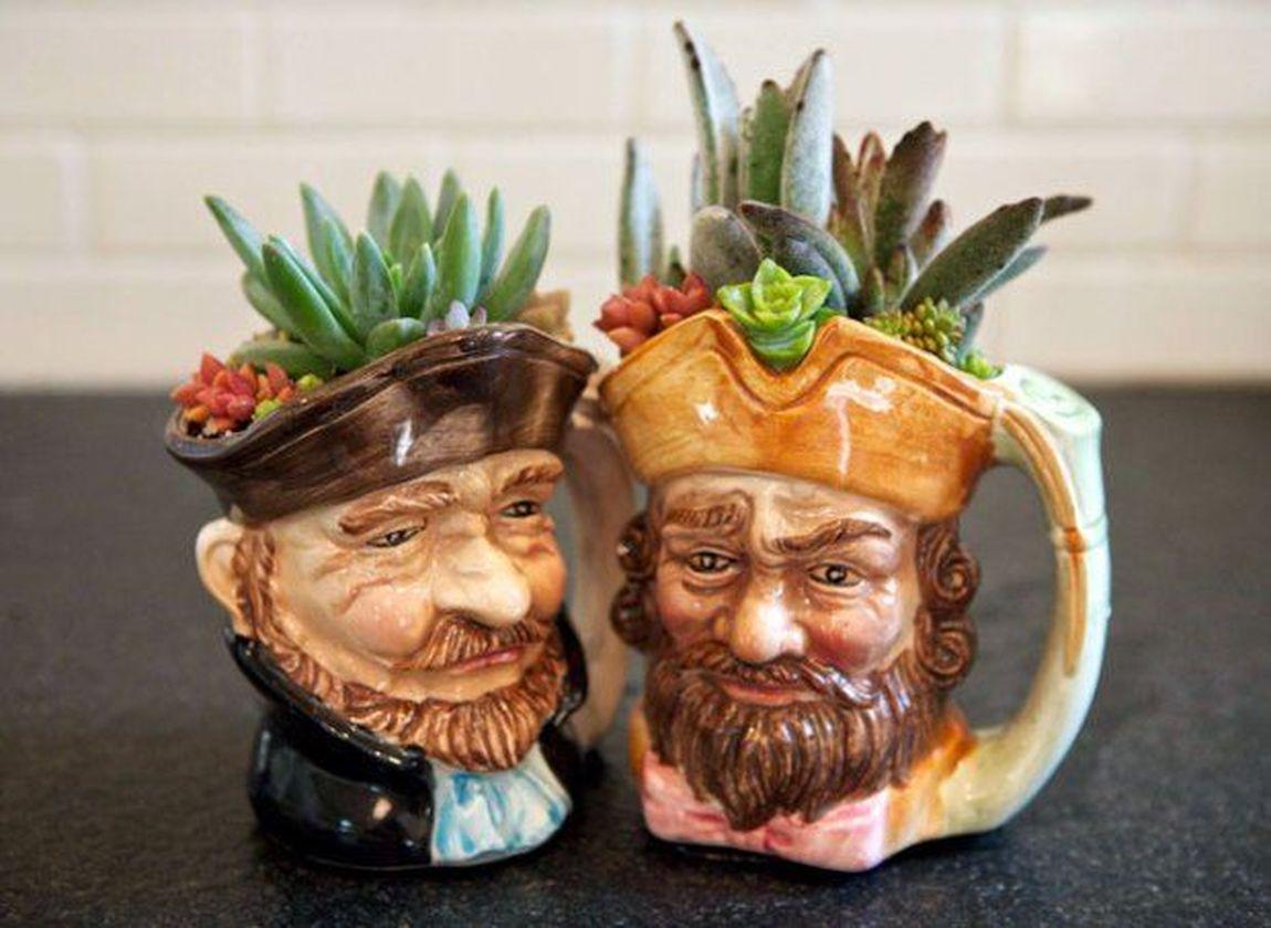 Impressive mini garden mug ideas to add beauty on your home 50