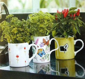 Impressive mini garden mug ideas to add beauty on your home 52