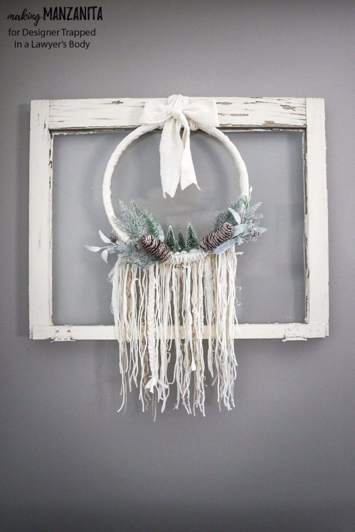 Boho winter wreath Creative Winter Crafts Ideas That Make Your Snow Day Stay On You
