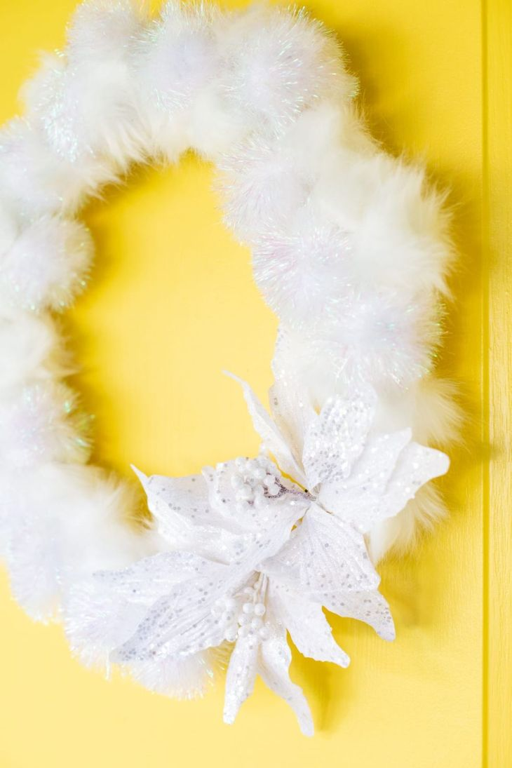Fluffy white winter wreath Creative Winter Crafts Ideas That Make Your Snow Day Stay On You