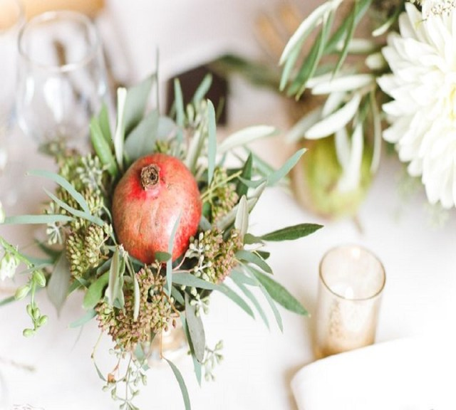 Pomegranate centerpiece Perfectly Impressive Winter Rustic Centerpieces Where Your Guest Can Not Deny