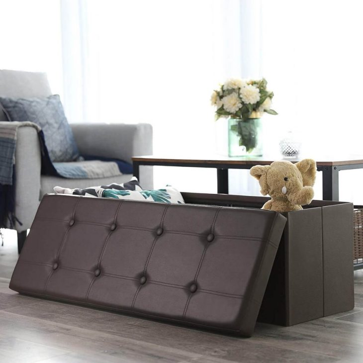Folding storage ottoman bench in faux leather Foremost Ottomans To Have Comfortable And Relaxing Spot