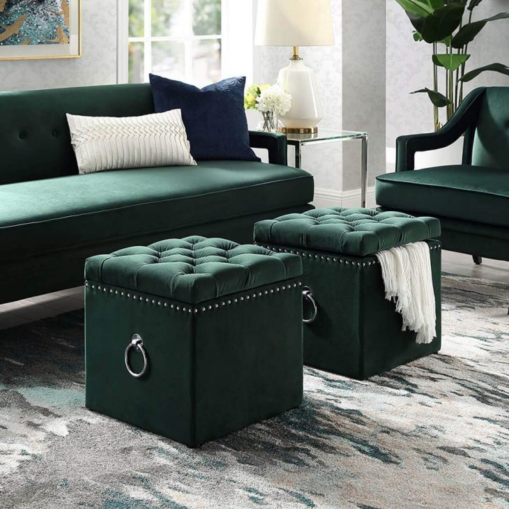 Green velvet storage ottoman with nail head detail Foremost Ottomans To Have Comfortable And Relaxing Spot