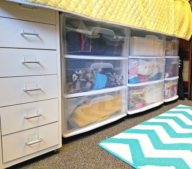 Maximize under the bed storage All In One Decoration Ideas To Have Everything In Your Dorm Room