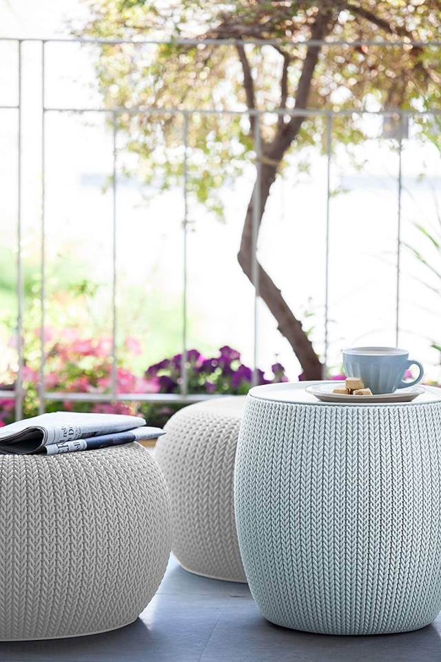Urban knit cloudy gray and white pouf set for morning seating Best Parts Of Home To Have Handy Uses For The Pouf As An Inviting Space