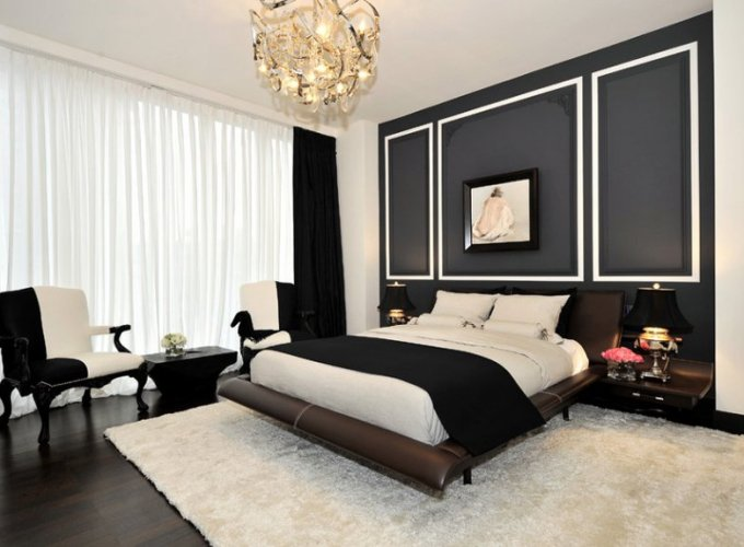 Bedrooms with beautiful black wall accents that so sophisticated