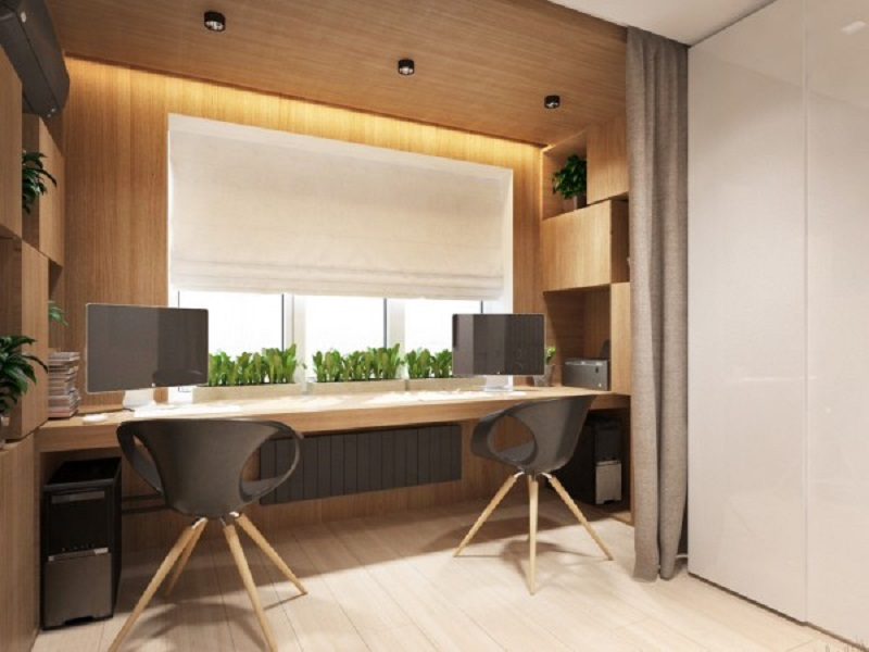 Studio apartment design for a young couple with a variety of activities within a single room 4
