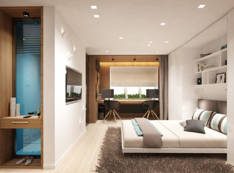 Studio Apartment Design For A Young Couple With A Variety Of Activities Within A Single Room