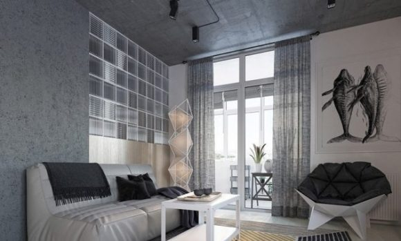 Tiny apartment in a 49 square meter loft with geometrical shapes 1