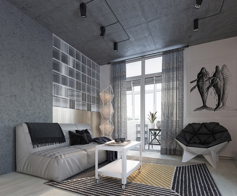Tiny Apartment In A 49 Square Meter Loft With Geometrical Shapes