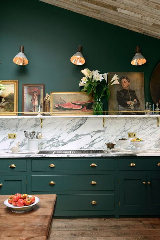 08-a-super-elegant-vintage-kitchen-with-forest-green-cabinets-and-a-grey-marble-backsplash-creates-a-wow-effect