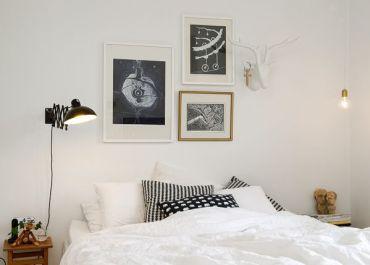 White-bedroom-black-head-lamp