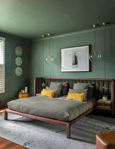 Green-and-brown-bedroom