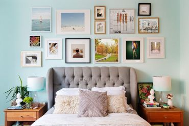 Headboard-gallery-wall-steals-the-spotlight-in-this-modest-modern-bedroom-in-blue-15895