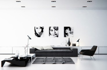 Black-and-white-living-room-model-portraits-geometric-coffe-table-floor-lamps