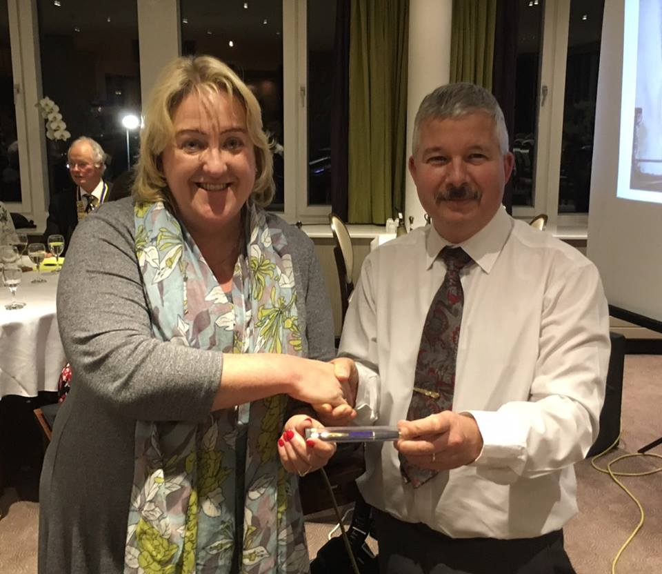 Kathy Short thanks Peter Oldfield on behalf of the Rotary Club of Roundhay