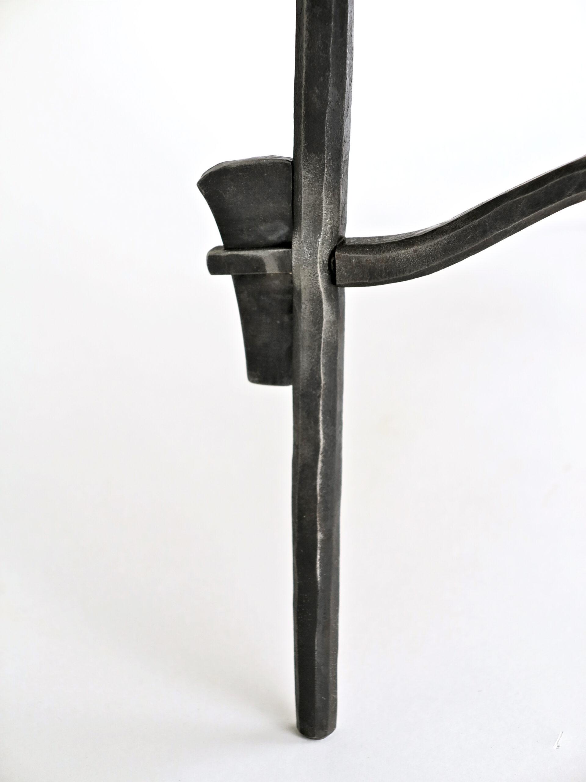 Eric Dennis blacksmith ironwork wedged tenon table legs holzapfel