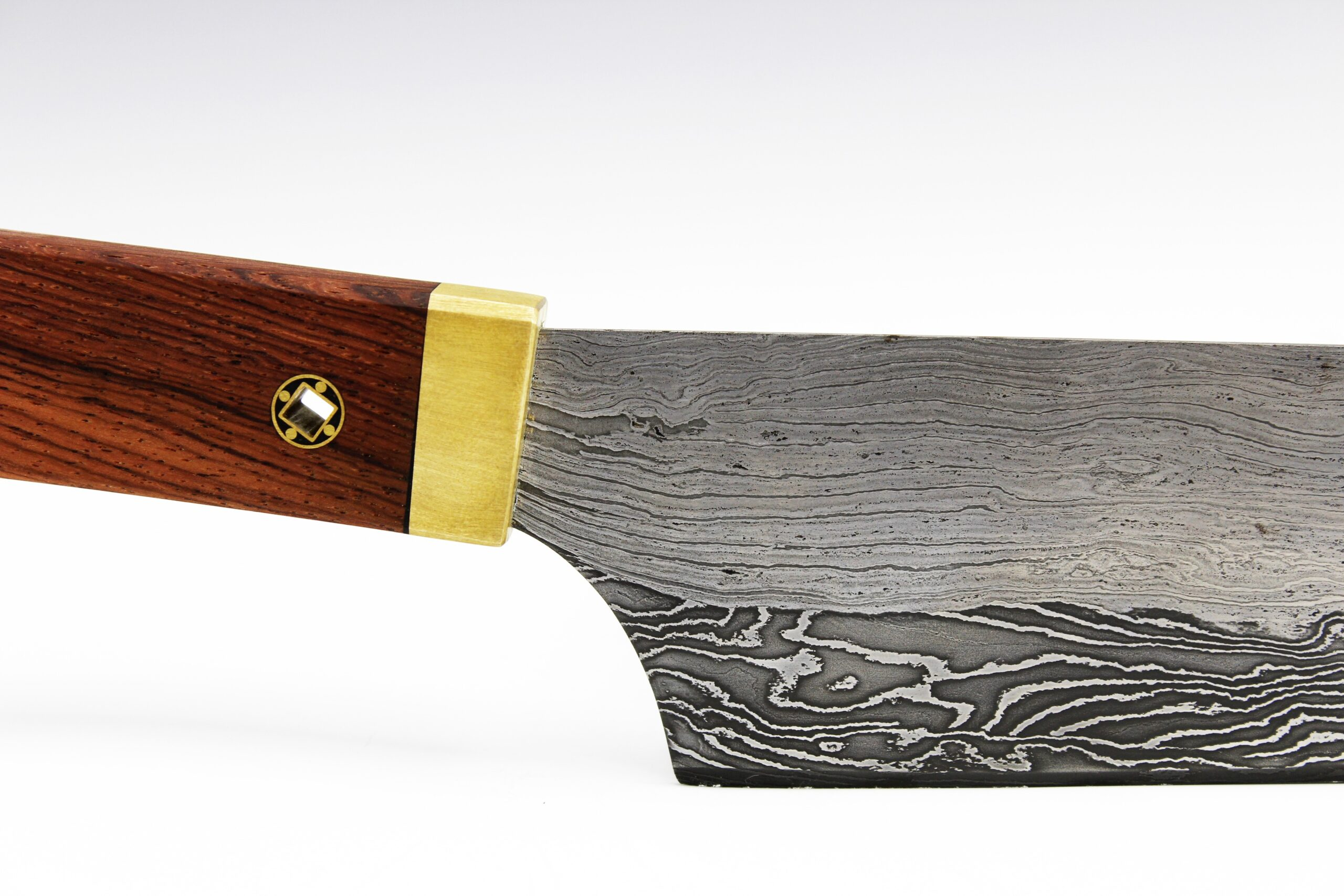 Hand forged damascus knife wrought iron