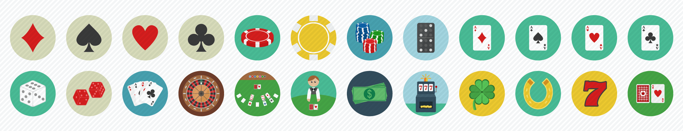 Gambling Casino Flat Icons