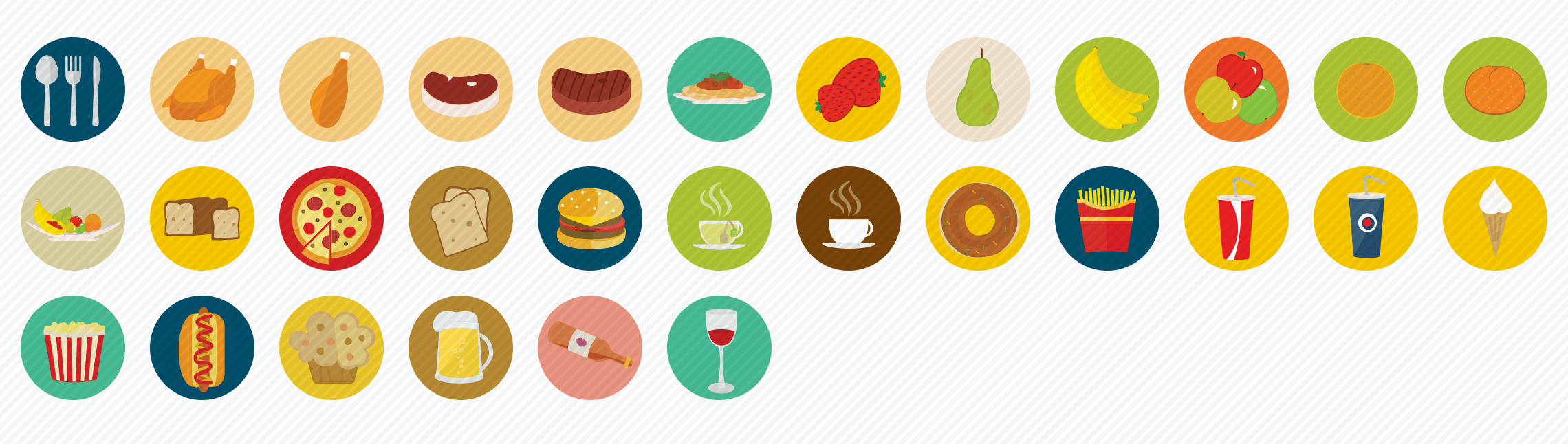 food flat icons set