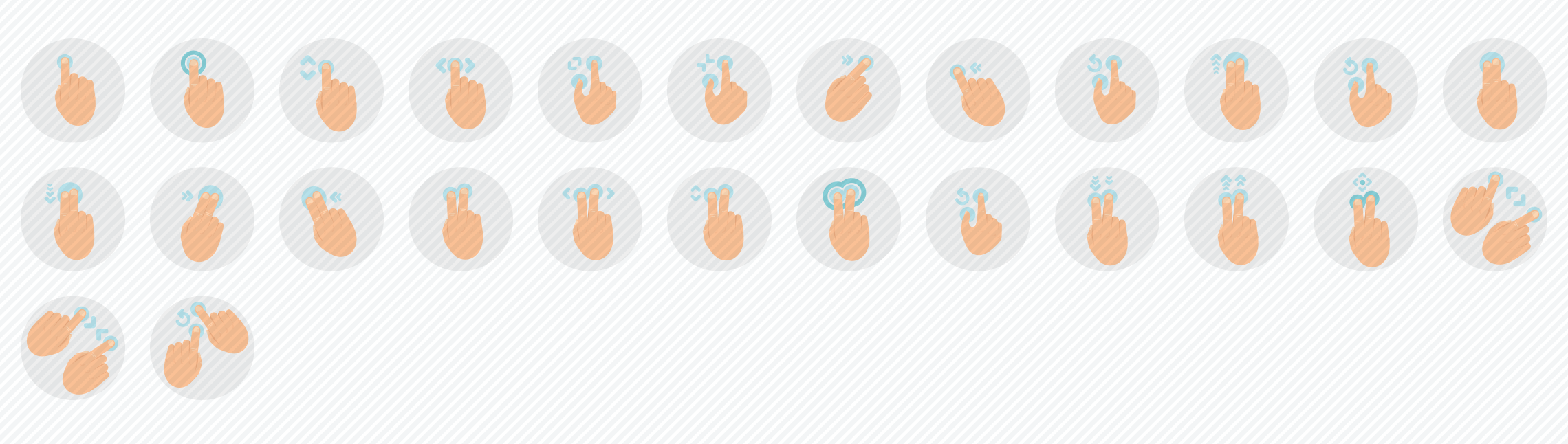 touch-gestures-flat-icons-set