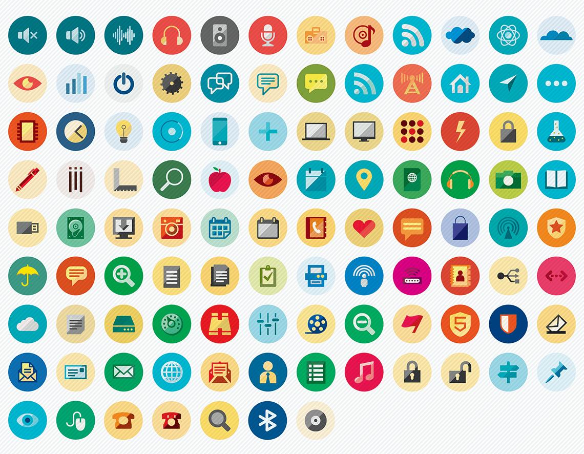 web essential flat icons set