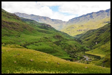 View of Sani Pass and the mountains from South Africa.