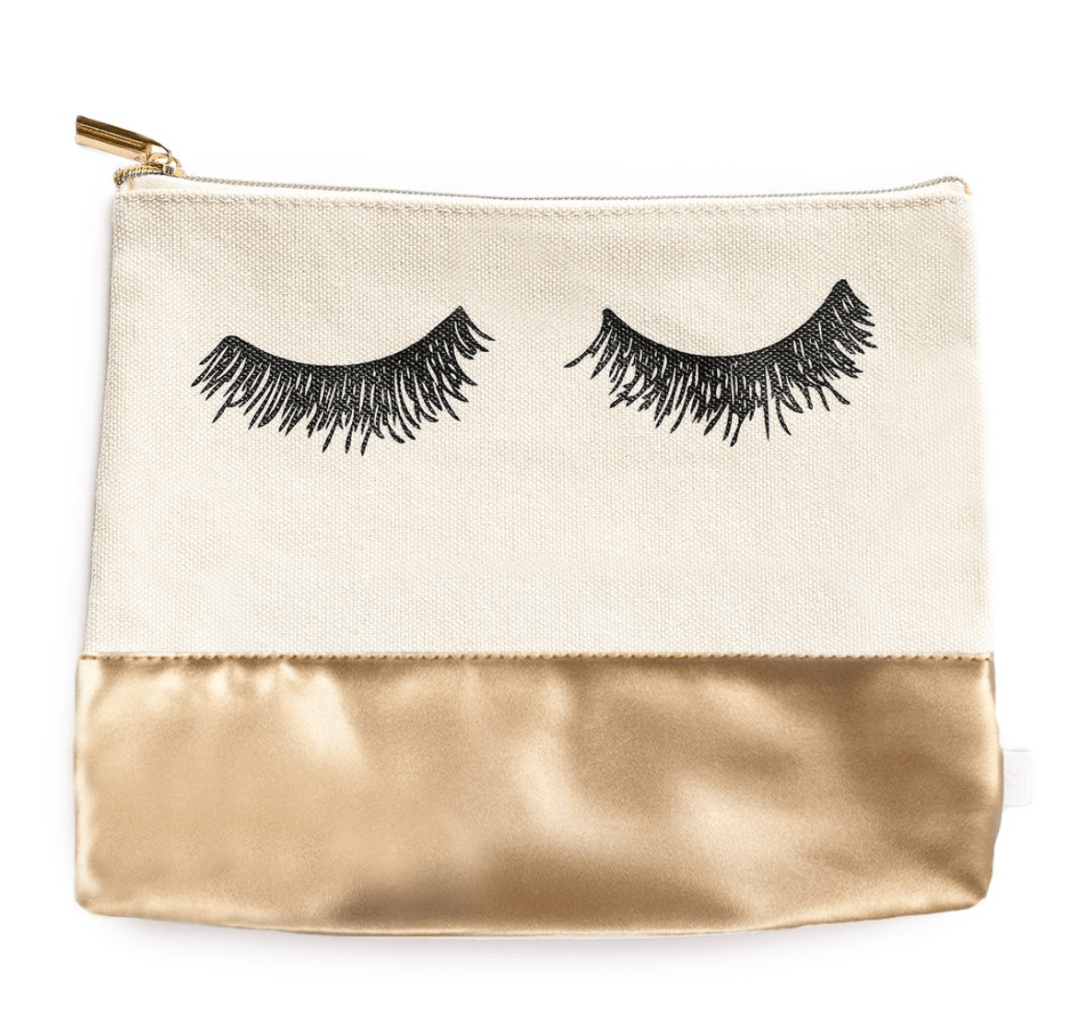 Eyelash Gold Leather Makeup Bag by Sweet Water Decor