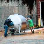 Moving tank into brewery