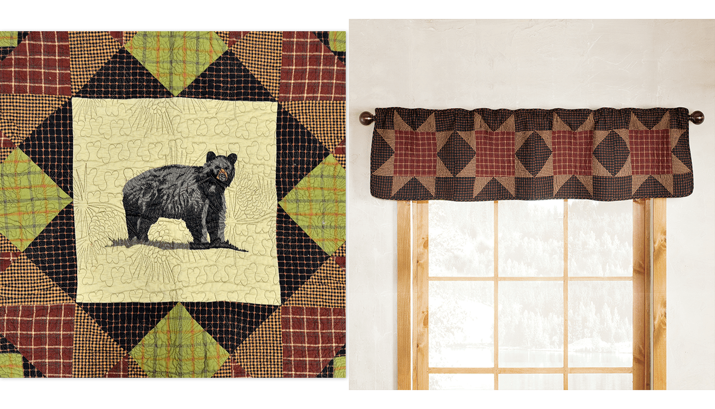 Rustic Cabin Home Decor - Bear's Paw Valance & Throw Blanket