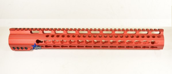 15 Inch Red Anodized Keymod Free Float HandGuard Forend with Stars RED Anodized AR 15 M16 M4 Best Austin Discount AR Parts and accessories Austin Texas Build your custom AR today