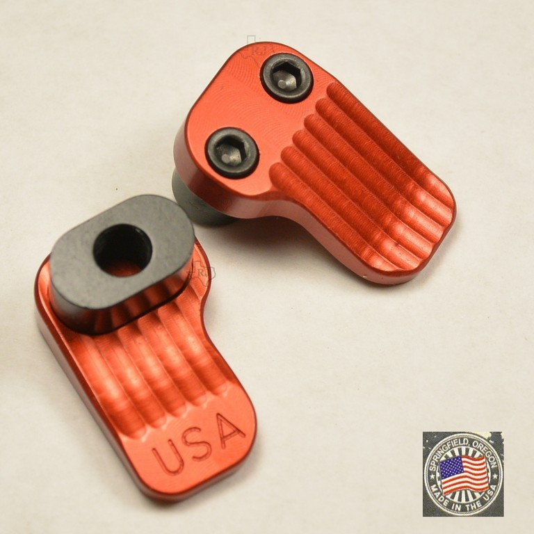 Extended Magazine Release AR15 Oversized Large Tactical Mag Button RED .223 5.56 AR 15 M4 M16 Best Discount Wholesale AR Parts and Accessories Austin Texas USA Timber Creek Outdoors AREMR-Red 1