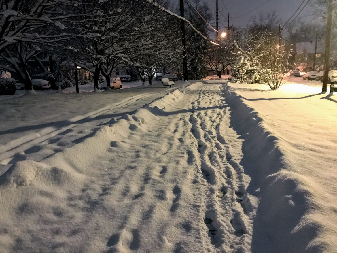 A trail extends into the distance across a snow covered ridge in the early evening. Footprints follow the trail into the distance, past a grove of snowy trees. Cars are visible on either side.