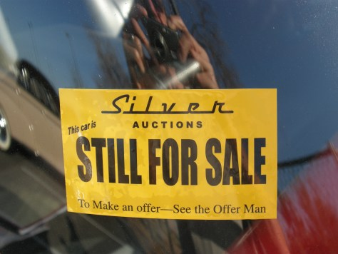 For sale sticker at car auction