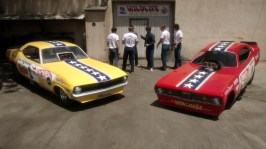 Two drag cars