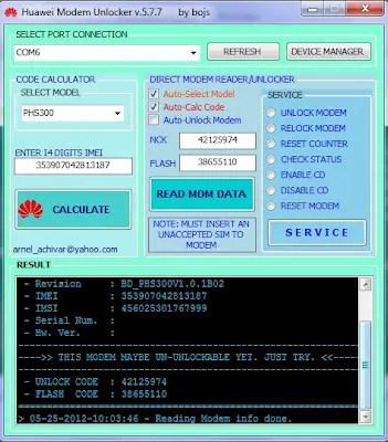 Huawei Modem Unlocker by Bojs latest version