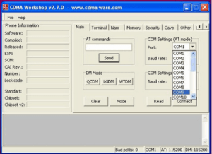 CDMA Workshop Tool main tab