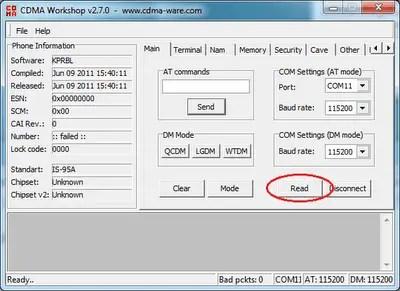 CDMA modem - Security tab