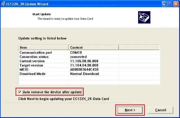 CDMA modem firmware update - Auto remove