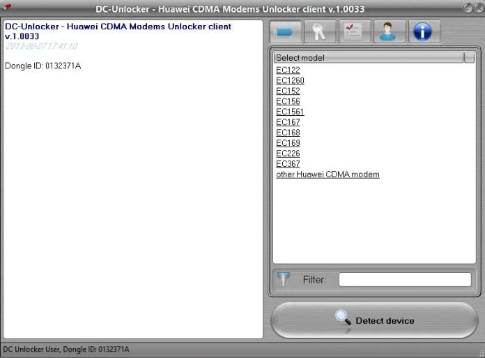 DC unlocker - Huawei CDMA Modems Unlocker Client v 1.0033