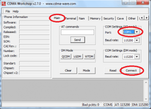 Main tab - COM port