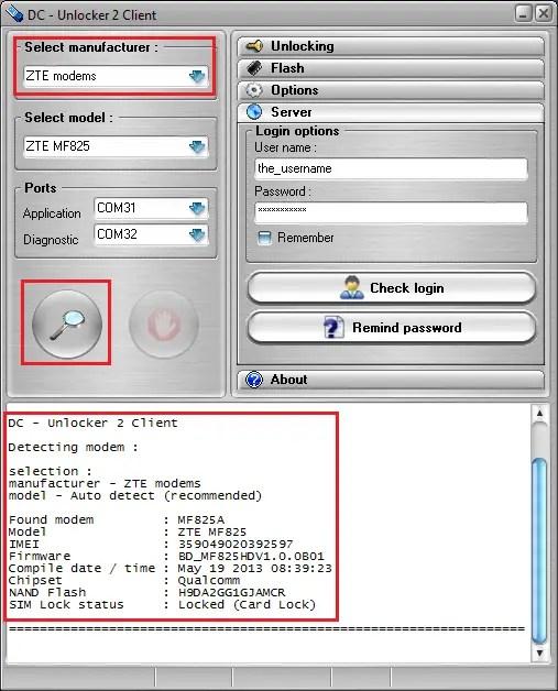 DC unlocker - detect ZTE modem