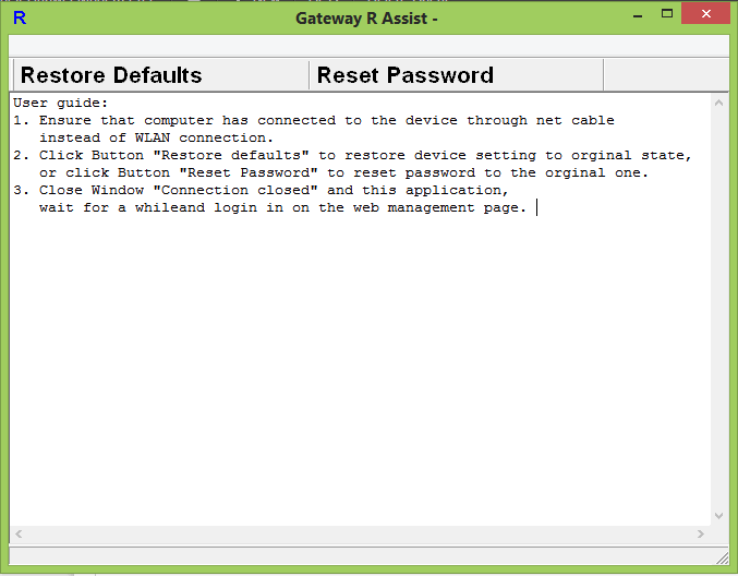 Gateway R Assist - Restore Huawei Router Password to Default