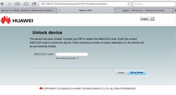 Unlock Huawei E5372 WiFi MiFi router