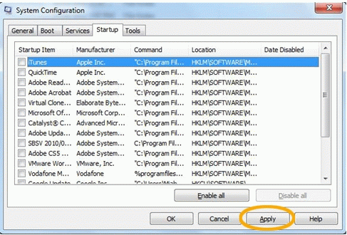 Disable all startup items