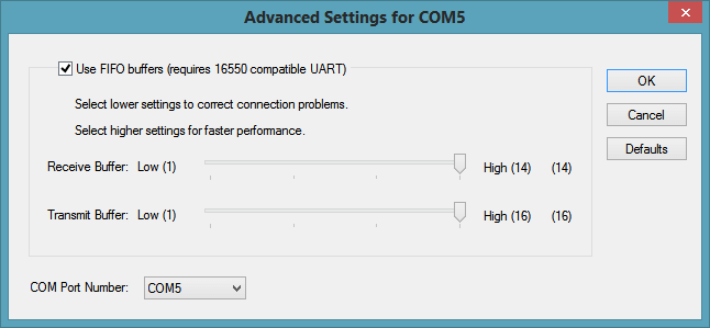 Advanced settings for COM port