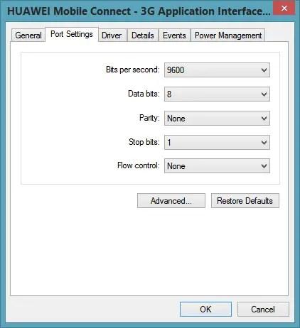 COM port properties - Port Settings