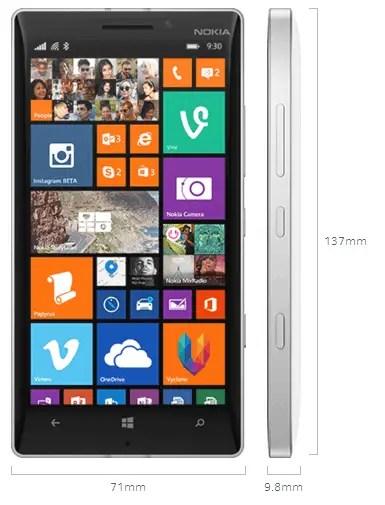 Nokia Lumia 930 Dimensions