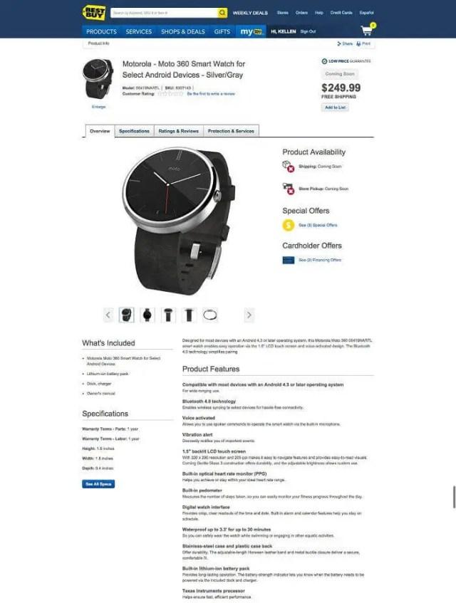Motorola Moto 360 Listed at Bestbuy