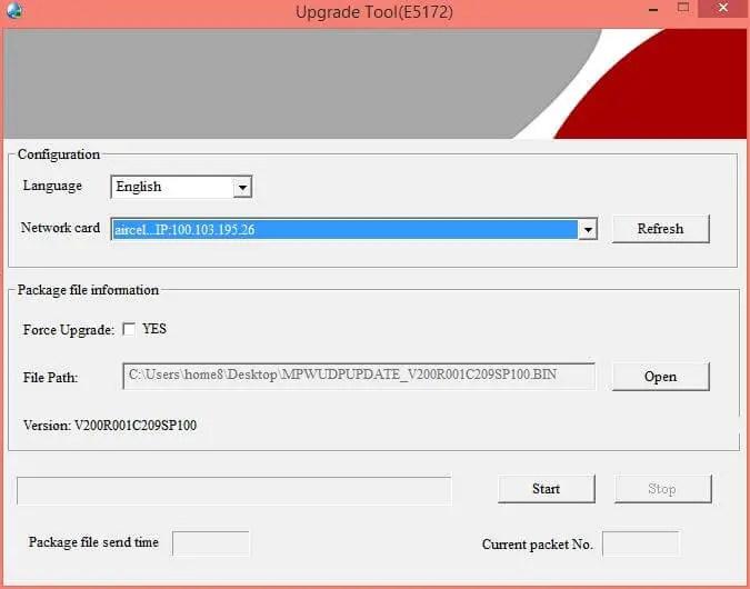 Huawei E5172 Firmware Update Tool - Selecting Bin File